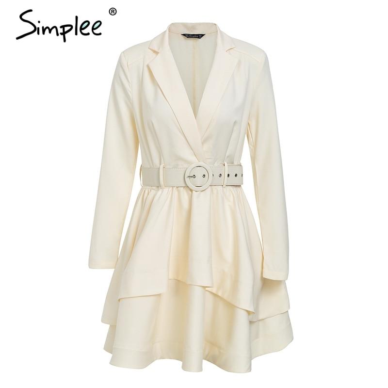 Simplee Elegant ruffle turndown collar white dress Sash high waist women dress Autumn winter long sleeve sexy dresses female
