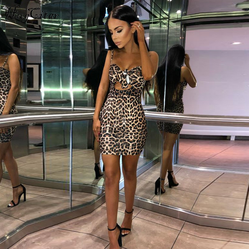 Hugcitar spaghetti straps v-neck leopard print hollow out high waist lace up bodycon sexy dresses 2018 autumn women fashion club