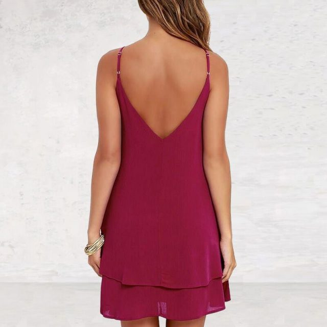 Lossky Women Summer Backless Chiffon Dress Sexy Spaghetti Strap Mini Casual Loose Dresses Fashion Women's Black Red Dress Girl