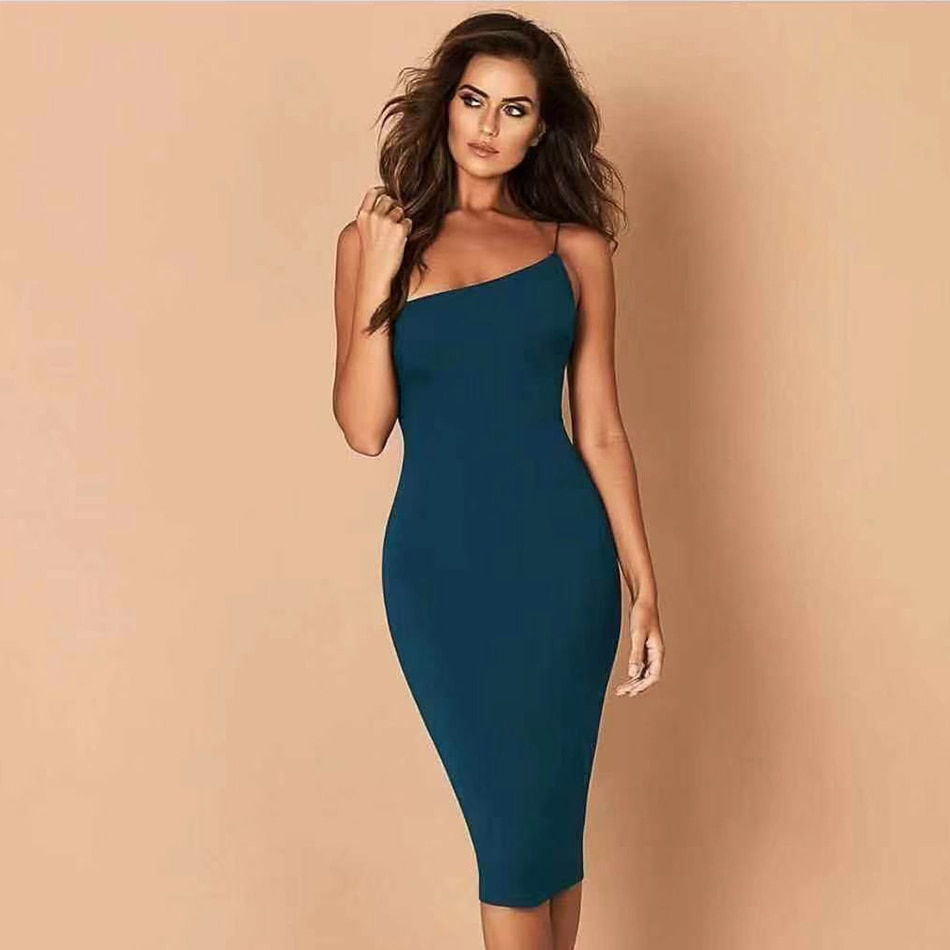 ADYCE 2019 New Summer Bandage Dress Women Celebrity Evening Party Dress Vestidos Sexy Black One Shoulder Spaghetti Strap Dresses