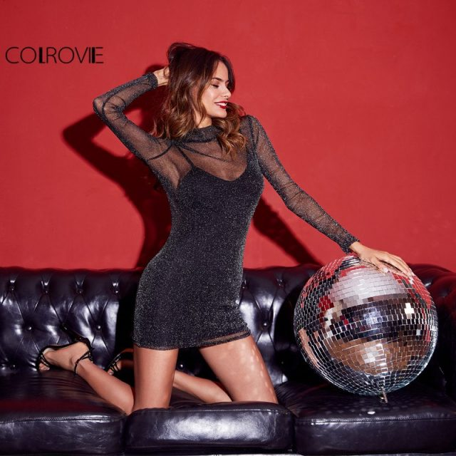 COLROVIE Glitter Mesh 2 In 1 Dress Black Overlay Women Sexy Party Club Summer Dresses Fashion High Neck Bodycon Mini Dress