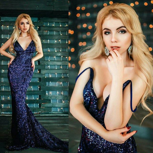 Sexy Silver Sequined Maxi Party Dress Stretch Floor Length Navy Sequins Backless Padded Bodycon V Neck Full Lining Black Dress