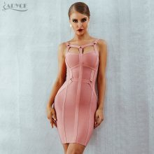 Adyce Women Bandage Dress Vestidos Verano 2019 New Arrival Pink Celebrity Party Dress Spaghetti Strap Hollow Out Runway Dresses