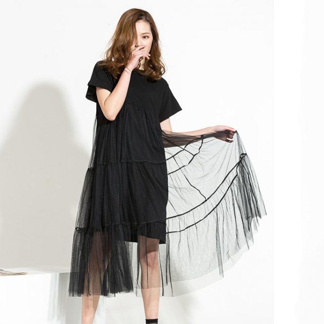 [EAM] 2019 Spring New Large Size Long Big Size Net Yarn Spliced Black O-neck Short Sleeve Sexy Mesh Dress Woman 5XL 3361