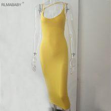 RLMABABY Sexy Night Club Backless Long Dress Women V Neck Sleeveless Spaghetti Strap Dress Elegant Party Bodycon Dress Evening