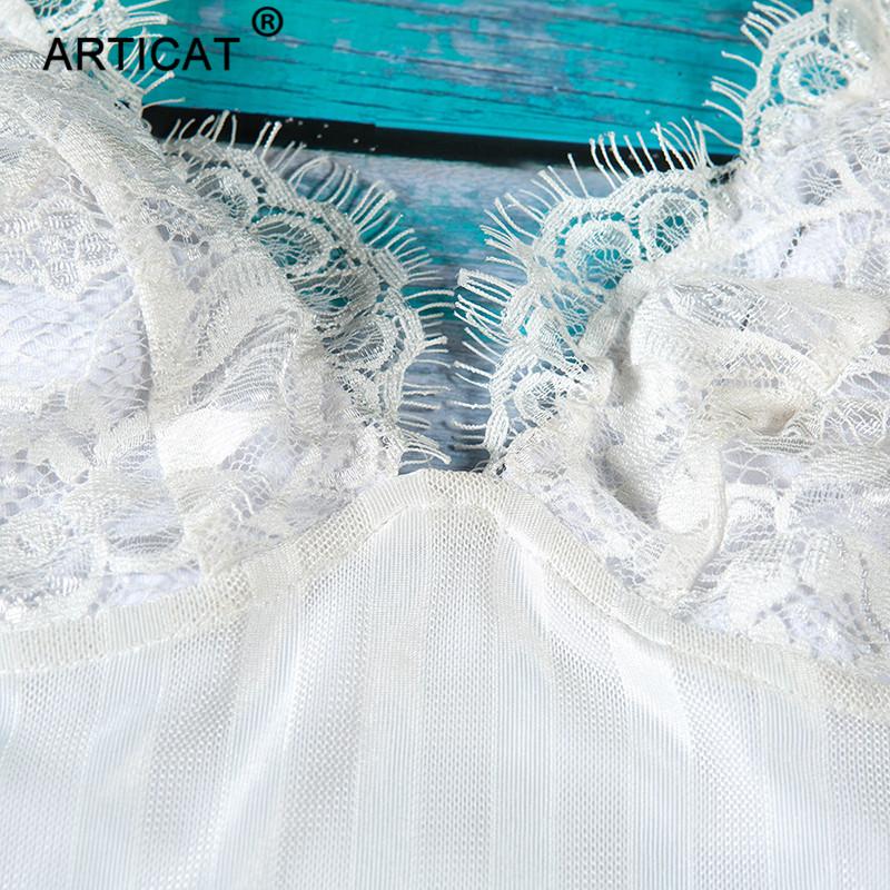 Articat White Spaghetti Strap Sexy Women Lace Dresses Deep V Neck Backless Sheath Bodycon Dress Short Club Party Dress Vestidos