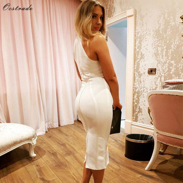 Ocstrade Sexy Women White Bandage Dress 2019 New Arrivals Striped Halter Midi Bodycon Dress High Quality Bandage Rayon Dress