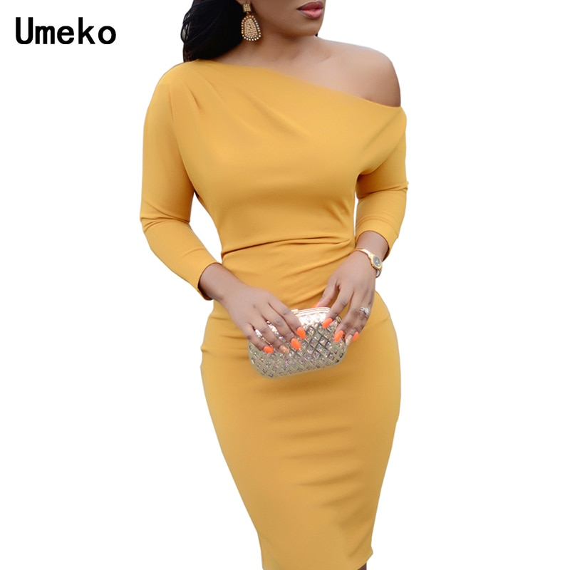 Women Sexy Dress Female Autumn Spring Long Sleeve Knee Length Red Black Pencil Dress Bodycon One-Shoulder Party Dress Vestido