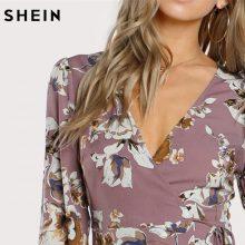 SHEIN Surplice Wrap Floral Dress Multicolor A Line Womens Dresses 2017 Autumn Style Deep V Neck Long Sleeve Dress
