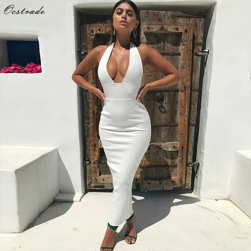 Ocstrade Womens Sexy Bandage Dress 2019 Club Wear Summer Backless White Bodycon Dresses Hollow Out Vneck Long Maxi Bandage Dress