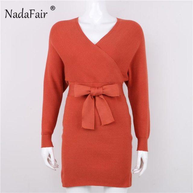 Nadafair v neck knitted sweater winter dress women 2018 autumn long sleeve sash mini bodycon sexy dresses elegant robe pull