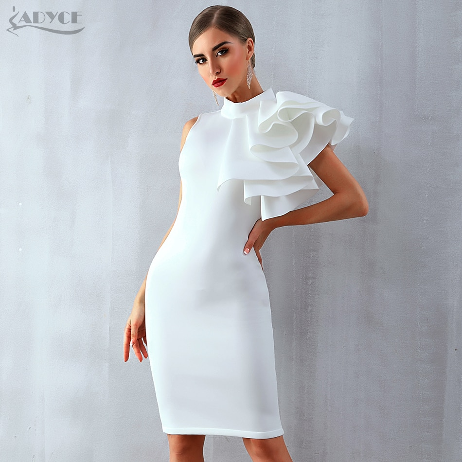 Adyce 2019 New Summer Women Celebrity Party Dress Vestidos Sexy White Red Sleeveless Ruffles Bodycon Midi Bodycon Club Dresses