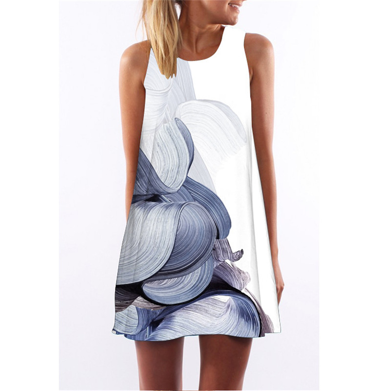 New Summer Dress Women Sleeveless A Line Boho Short Beach Dress Casual Space Galaxy 3D Clothes Sundress Sexy Vintage Shift Dress