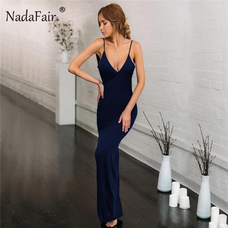 Nadafair Deep V Neck Sexy Party Maxi Dress Women Backless High Side Split Strap Slim Long Bodycon Club Summer Dress Vestidos Red