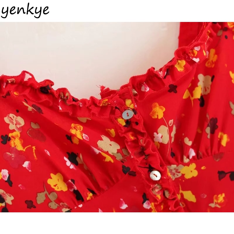 Vintage Summer Dress Sweet Women Red Floral Printed Sling Dress Sexy Sleeveless Mini Dress LJPZ8635