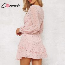 Conmoto Vintage Polka Dot Pink Ruffle Dress Spring Summer Women Mesh Long Sleeve Short Sexy Dress V Neck Layered Mini Dress Robe