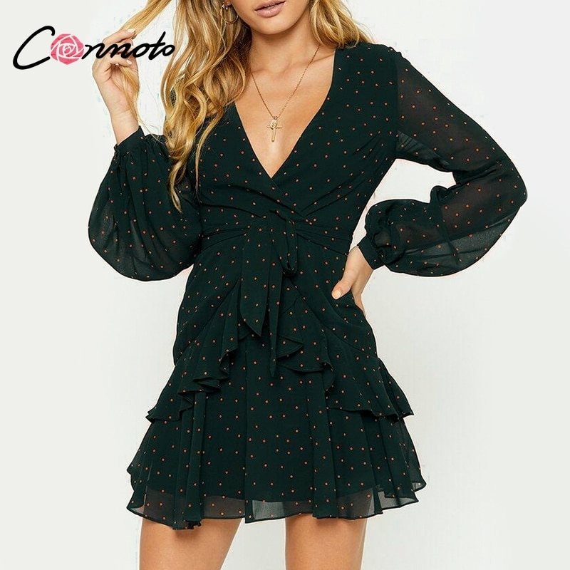 Conmoto Vintage Polka Dot Pink Ruffle Dress Spring Summer Women Mesh Long Sleeve Short Sexy Dress V Neck Layered Mini Dress Robe