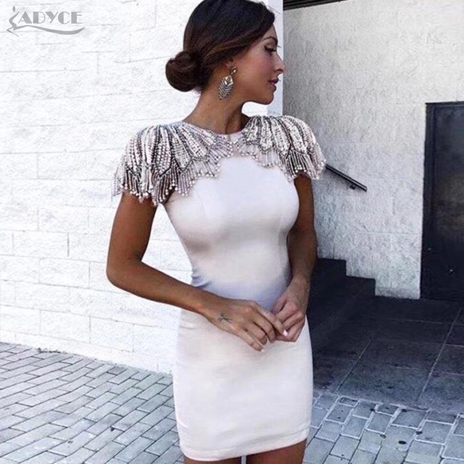 Adyce New Summer Bandage Dress 2019 Woman Celebrity Evening Party Dress Vestido Sexy White Beads Diamond Mini Runway Club Dress