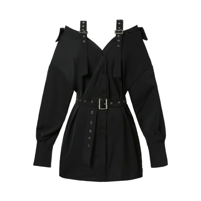 Autumn Vintage Hard Black Suspenders Dress Female Harajuku Gothic Korean Off Shoulder Sexy Shirt Dress Women Punk Style Dresses