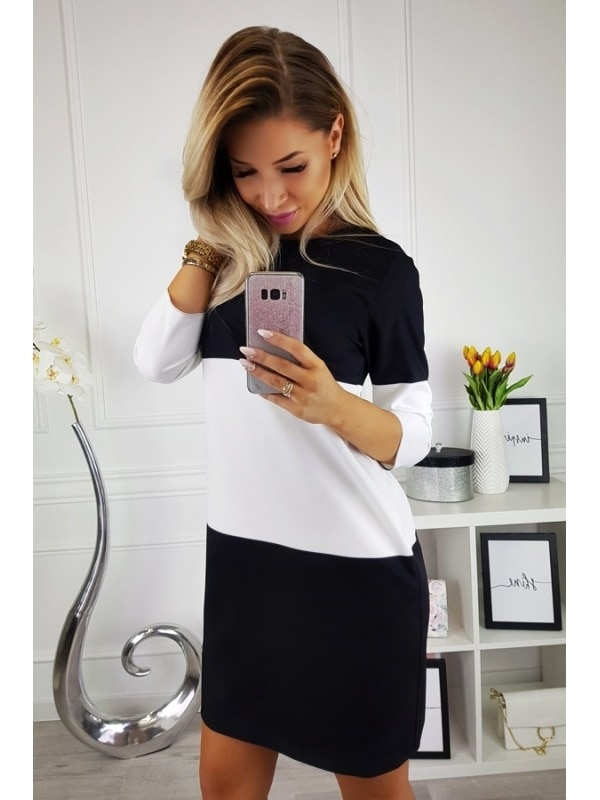 LOSSKY Women's Stitching Casual Dress 2018 Sexy O-Neck Long Sleeve Color Matching Slim Dress Women's Autumn Loose Mini Dresses