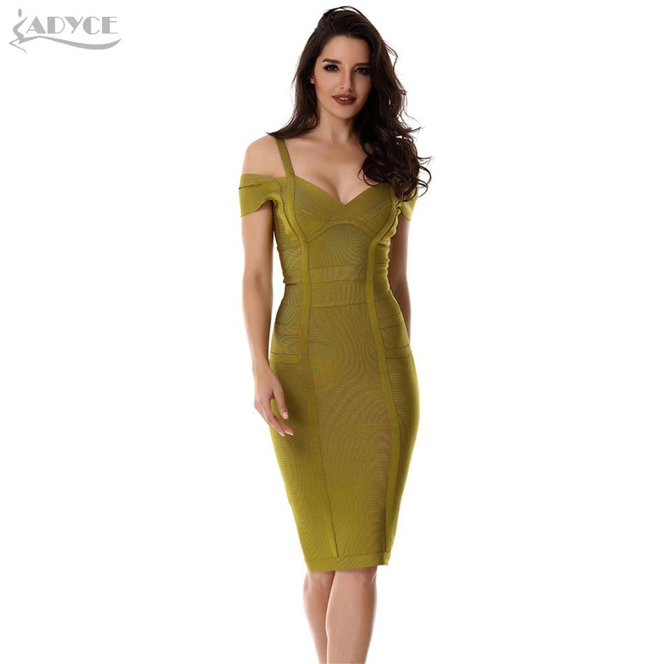 ADYCE New Summer Bandage Dress Women Vestidos Verano 2019 Sexy V Neck Off Shoulder Celebrity Party Dress Sexy Club Bodycon Dress