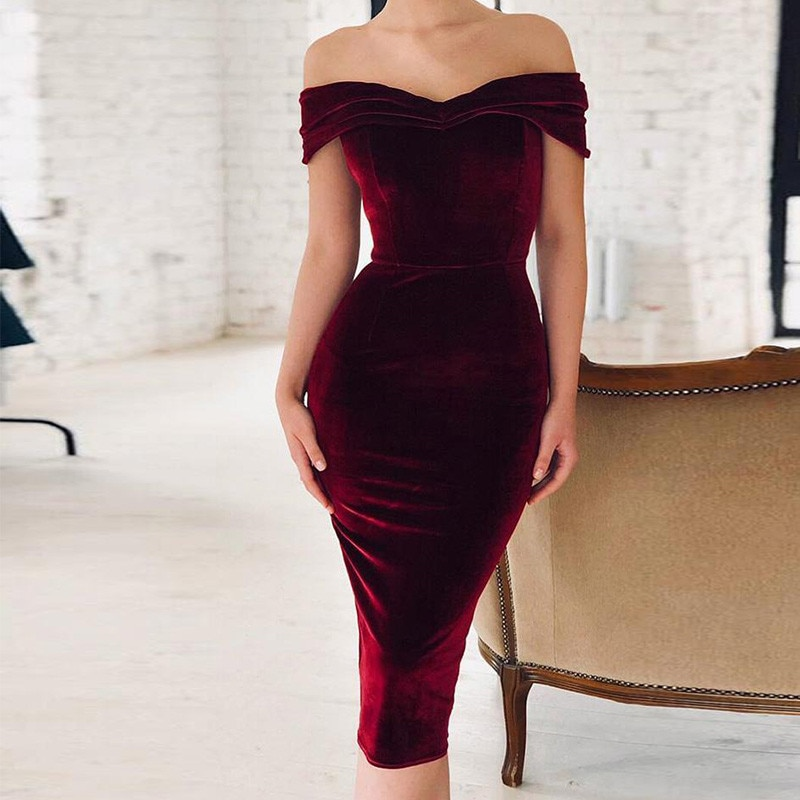 Ahagaga 2019 Spring Summer Dress Women Fashion Off the shoulder Short Sleeve Sexy Slash Neck Velvet Women Dresses Vestidos Robes