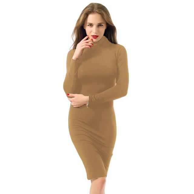Women Sexy Club Dress 2019 Turtle Neck Long Sleeve Autumn Winter Dress Pencil Dress Slim Hip Bandage Bodycon Dress Vestidos Club