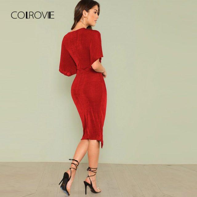 COLROVIE Red V Neck Twist Front Half Sleeve Split Sexy Bodycon Dress Autumn Solid Elegant Midi Party Dress Women Dresses