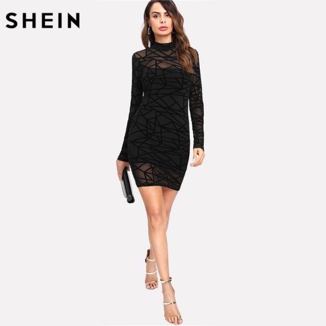 SHEIN Party Dress Women Sexy Bodycon Dress Black Long Sleeve Stand Collar Transparent Sheer Mesh Overlay 2 In 1 Dress