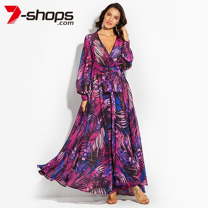 7-shops Summer Beach  Maxi Dress Women Deep V Neck Print Party Dress Lace-Up Sexy Ladies Bohemian Dresses Elegant Long Dress