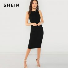 SHEIN Black Elegant Solid Pencil Dress Slim Sleeveless Knee Length Sexy Workwear Dresses Women Plain Sheath Summer Dress