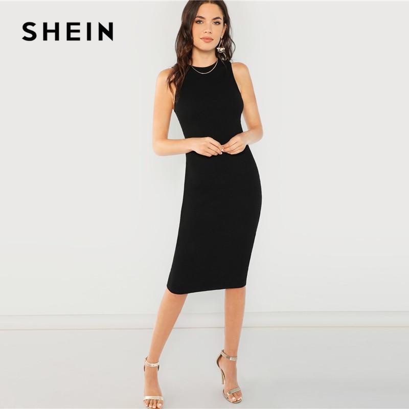 SHEIN Black Elegant Solid Pencil Dress Slim Sleeveless Knee Length Sexy Workwear Dresses Women Plain Sheath Summer Dress