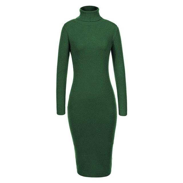 GLO-STORY 2018 Winter Women Basic Turtleneck Sweater Dress Solid Bodycon Sexy Party Dress Elegant Vestidos for Female WYQ-7628