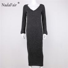Nadafair women winter dress v neck loose knitted sweater long dresses female autumn long sleeve casual sexy maxi dress robe pull