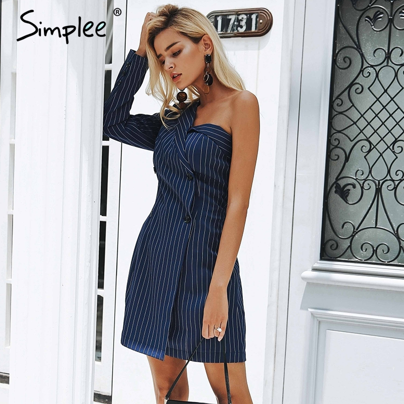 Simplee One shoulder striped suit sexy dress A-line short women dress office lady Casual autumn winter dress blazer streetwear