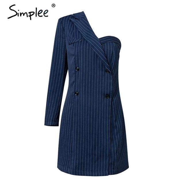 Simplee One shoulder striped suit sexy dress A-line short women dress office lady Casual autumn winter dress blazer streetwear
