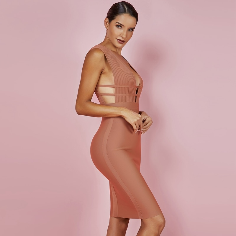 Ocstrade Summer New Arrival Bandage Dress 2019 Sexy Deep v Neck Bodycon Dress Party Cut Out Bandage Dress Rayon High Quality