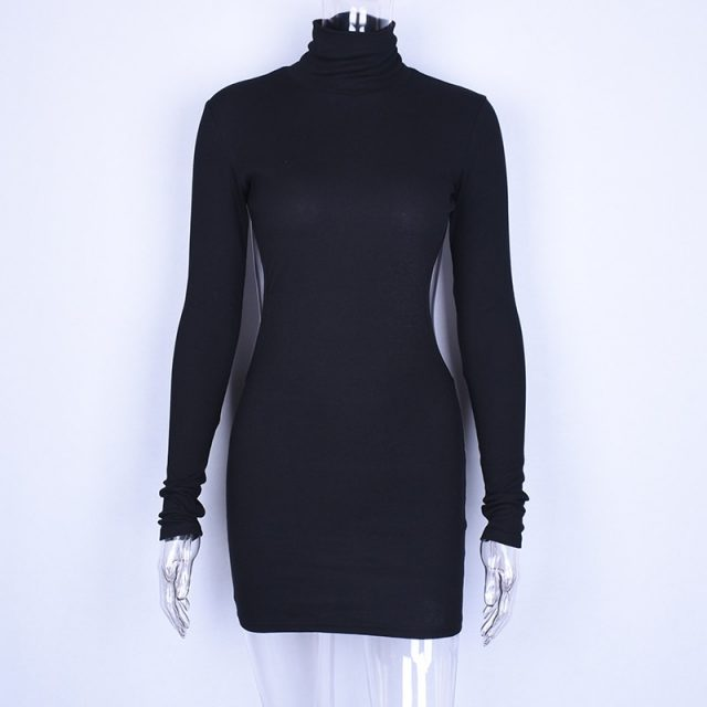 Hugcitar long sleeve high neck backless sexy mini dress 2018 summer autumn women new fashion white solid bodycon club dresses