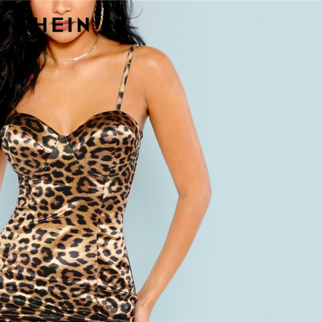 SHEIN Multicolor Sexy Club Leopard Print Bustier Natural Waist Skinny Slip Cami Dress Autumn Party Women Short Dresses