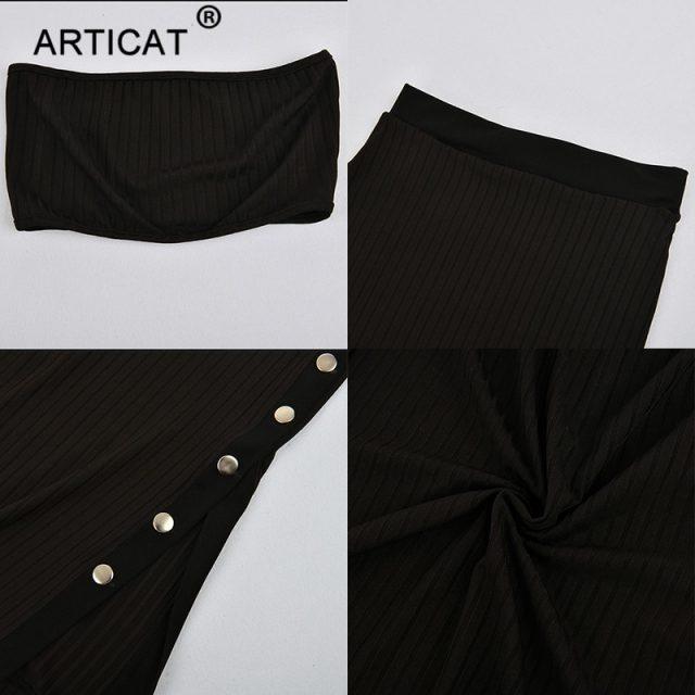 Articat Off Shoulder Bodycon Autumn Winter Dress Women 2018 Two Piece Knitted Buttons Split High Waist Christmas Dress Vestidos