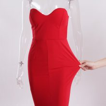2019 Sexy Strapless V Neck Padded Mermaid Dress Long Split Front Bodycon Draped Backless Red Black Elegant Floor Length Dress