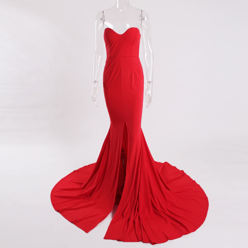 2019 Sexy Strapless V Neck Padded Mermaid Dress Long Split Front Bodycon Draped Backless Red Black Elegant Floor Length Dress