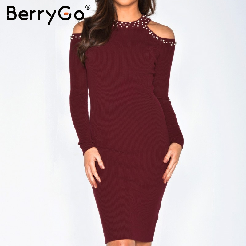 BerryGo Sexy off shoulder bead bodycon winter dress Women knitted sweater dress casual Elegant autumn red dress vestidos jumper