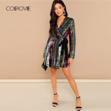 COLROVIE Color Block Wrap Sequin V Neck Sexy Dress Women Autumn Long Sleeve Club Party Dress Belted Night Out Mini Dresses