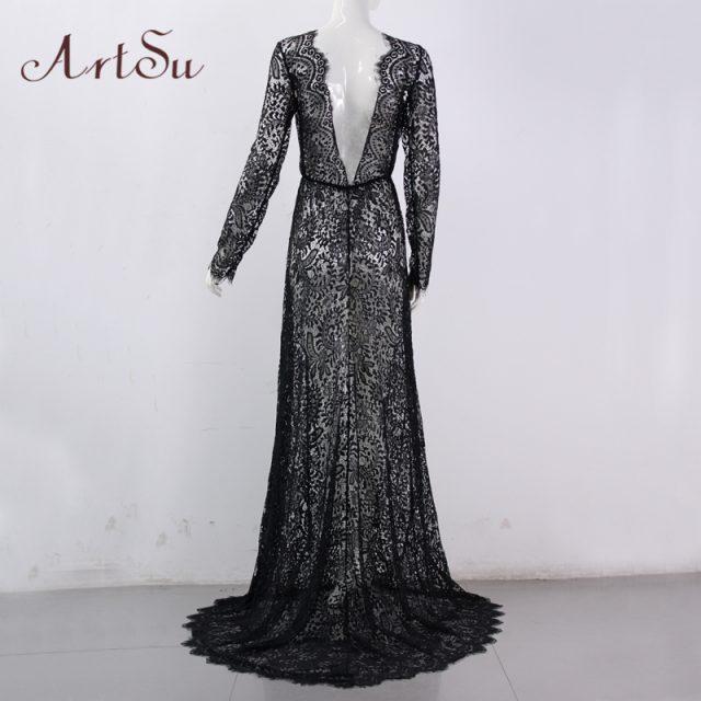 ArtSu Women See Through Floral V-Neck Elegant Lace Long Dress Sexy Maxi Autumn Winter Evening Party Dresses Vestidos ASDR20034