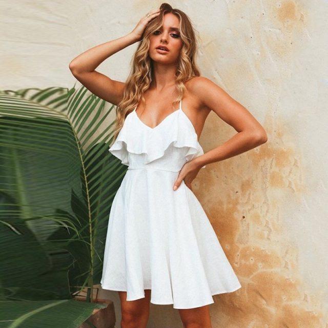 DeRuiLaDy 2019 Women Summer Straps Beach Chiffon Dress Sexy V Neck Open Back Lace Up Ruffles Mini Dresses Casual Dress Vestidos