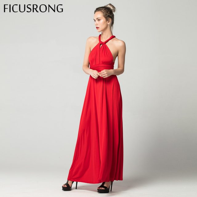 Sexy Long Dress Bridesmaid Formal Multi Way Wrap Convertible Infinity Maxi Dress Red Hollow Out Party Bandage Vestidos FICUSRONG