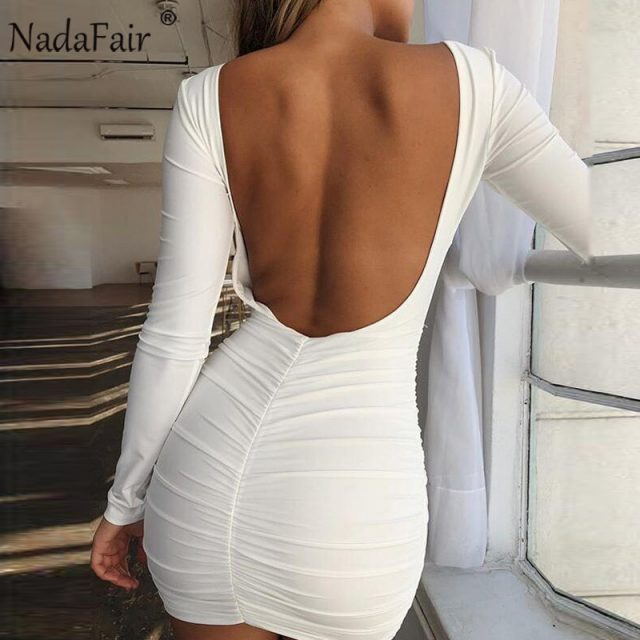 Nadafair Backless Wrap Bodycon Low Cut Sexy Club Dress Women White Black Long Sleeve Mini Party Dress