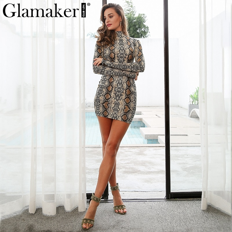Glamaker Sexy snake print summer women dress Turtleneck long sleeve bodycon short party dress Elegant spring female club dress
