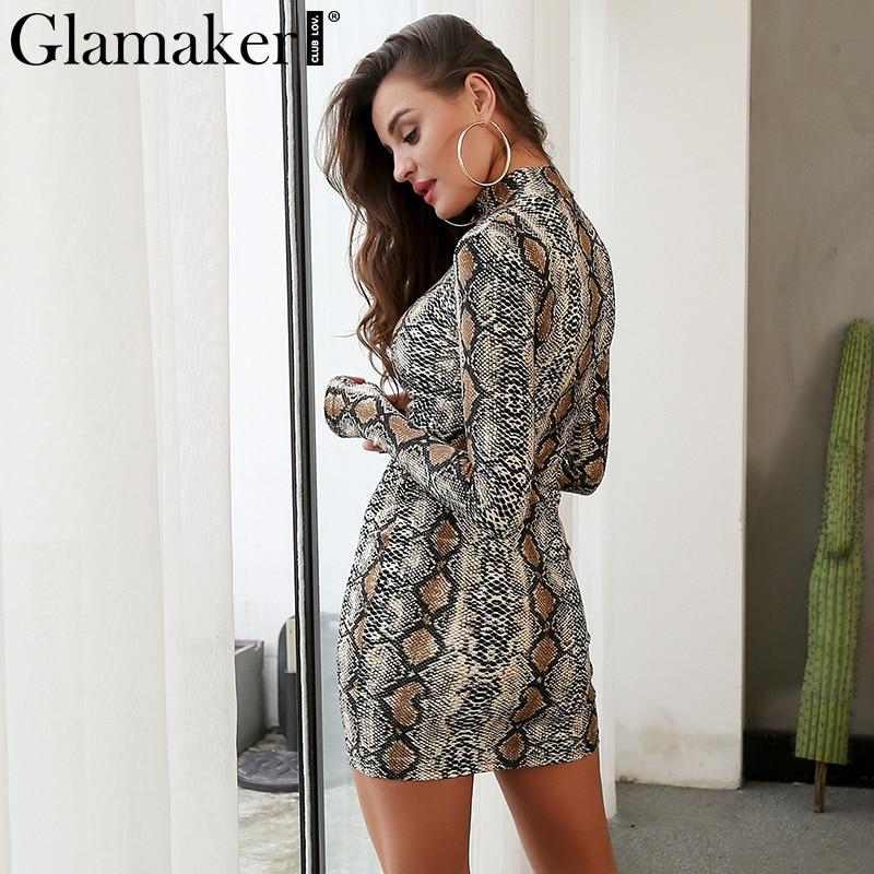 Glamaker Sexy snake print summer women dress Turtleneck long sleeve bodycon short party dress Elegant spring female club dress